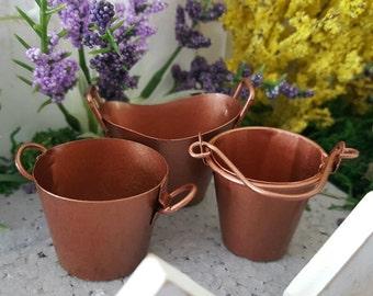 Miniature Copper Pails - Buckets - Set of 3 - Your choice!