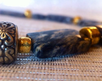 South African Dumortierit Necklace // Gemstone // Blue, Grey, White and Gold Accessory