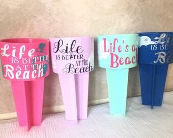 Bridal Beach Spikers, Wifey Beach Spiker, Mr.and Mrs. Beach Spiker, Personalized Beach Spikers, Cup holder