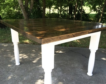 Elegant Farmers Table/Farmhouse Table/Hand Crafted Dining Table/White Turned Legs/Stained/Shabby Chic/Cottage Style Table/Rustic Furnitu