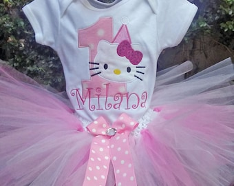 Pink Hello Kitty 1st Birthday Outfit Onesie Tutu FREE Hair Bow Personalized