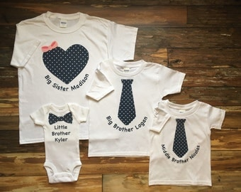 Big Sister, Big Brother, Middle Brother, Little Brother Four Shirt Set