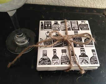 Bottle tile coaster, drink tile coaster, gift, wedding gift, housewarming gift coaster. Set of 4