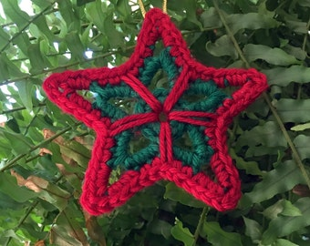 Crochet Star Ornament, Star Ornament, Crochet Star Package Tie, Holiday Decor