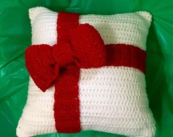 Crocheted Christmas Pillow, Holiday Pillow, Xmas Pillow, Handmade