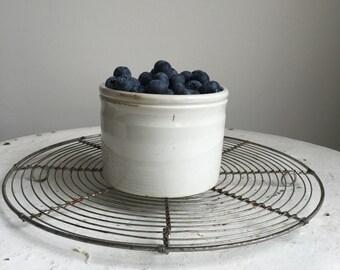 Vintage French white ironstone jam pot