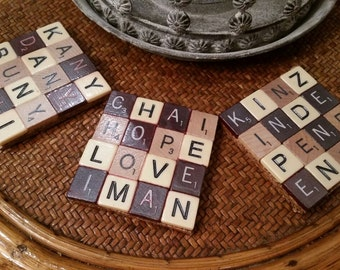 Customizable Scrabble Coasters