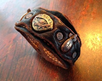 """Leather Cuff Bracelet / Eye and Bomb """"Don't Look Away"""""""