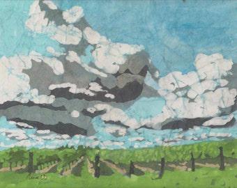 Niagara Vineyard Under a Big Sky - wine, fields, sun, shadows, green