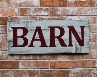 Barn, Barn Sign, Distressed Barn Sign, Sign for the Barn, 12X28, Goggins Creations