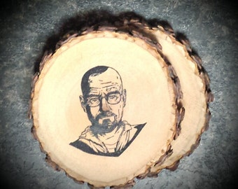 "Walter White ""Heisenberg"" Natural Wood Coaster Set of 2"