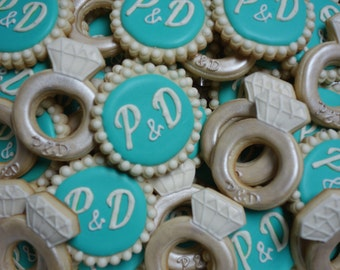 Monogrammed Wedding/Engagement Cookies