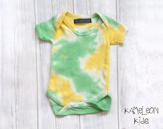 Cotton Baby Grow Lemon and Lime Yellow and green Hand Dyed