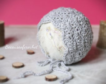 """Crochet PATTERN - Newborn Baby Bonnet. Quick and easy. Size 0-1 month (head circ. 13,7"""") Written in US terms"""