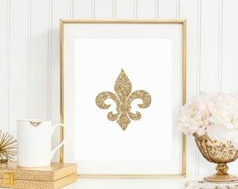 Gold Sparkle Fleur De Lis Printable - Instant Download - Glitter Wall Art Home Decor - High Resolution JPEG & PDF