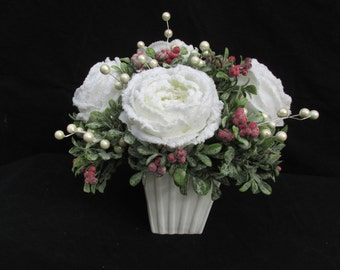 Frosty white roses in a small white vase:  Christmas rose floral /green frosty boxwood/faux/silk/artificial flowers/ceramic vase