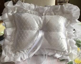 White Wedding Ring Bearer Pillow, Handmade, Wedding Pillow