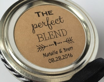 Perfect Blend, perfect blend sticker, coffee favor, coffee favor Sticker, Bridal Shower Favor, Wedding Favor, Jam Sticker, Jelly Sticker