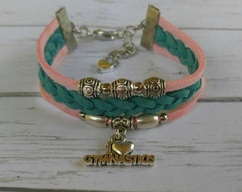 Gymnastics Charm Bracelet// Pink & Teal Friendship Bracelet// Girl's Sports Bracelet// Gymnastics Gift// Choose Sports Charm and Colors