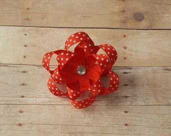 Red polka dot hair clip