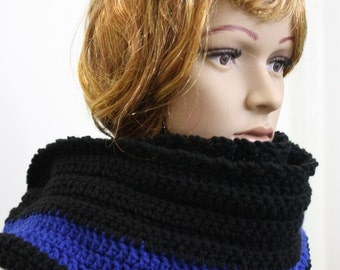 Infinity Scarf, Infinity Hooded Scarf, Crochet Scarf Cowl, Hood Scarf, Crochet Hood Scarf, Knit Cowl Color : Police Black and Blue