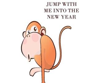 Monkey, Monkey Print Wall Print, New Year Poster