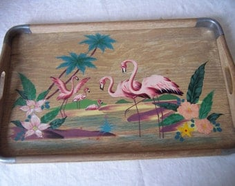 Vintage Hand Painted Wood Tray - Flamingos and Flowers - 50s