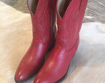 Vintage leather kids red cowboy boots western
