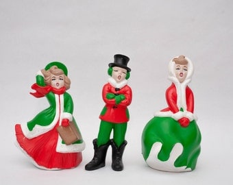 Sale - Set of 3 Vintage 1970s Ceramic Christmas Carolers - Christmas decorations