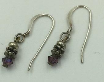 Sterling Silver Dangle Earrings Purple