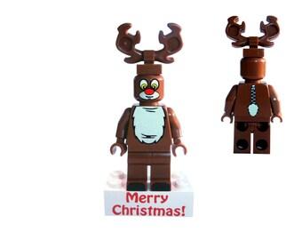 Reindeer suit guy minifigure on Happy Bithday message brick - very collectible custom figure