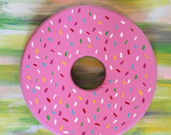 Strawberry DONUT and sprinkles wooden sign