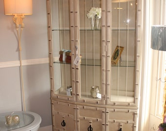 Vintage Chinoiserie Faux Bamboo Display Cabinet