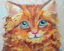 Yellow tabby kitten portrait colorful Oil painting present for Nursery Kids room wall interior Art Hand colored pastel orange Cat in basket