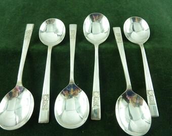 Demontfort plate 6 Soup Spoons EPNS silver plate