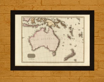 Printed on textured bamboo Art paper - Old Map of Australia 1813 Ancient Map  Art Antique Map Poster Old Map Australia Map Australasia