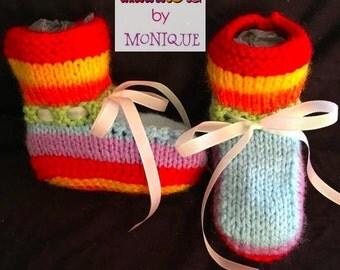 Rainbow newborn bootees