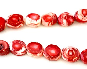 Bi-Color Red Coral Beads, Sold by 1 strand of 22pcs, Mixed Sizes Stones, 130.8grams/pk