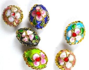11mm, Color Cloisonné Floral Wrapped Bead,Wholesale,beading making,DIY