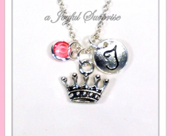 Personalized Tiara Necklace, Princess Tiara Necklace, Crown necklace, Queen Royalty Reign, Silver Tiara Jewelry Gift initial birthstone 218