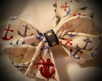 SMALL~NAUTICAL Boutique Bow with Charm