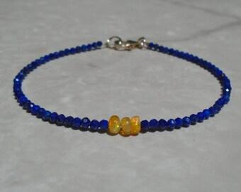 Lapis Lazuli Bracelet, Yellow Opal Bracelet, Ethiopian Opal Bracelet, Dainty Beaded Bracelet, Skinny Beaded Bracelet, Anklet, Beaded Anklet