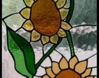 "Stained glass window panel. ""Sunflowers"""