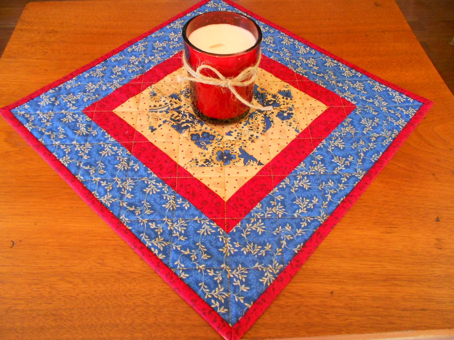 Free Patterns For Quilted Candle Mats : Quilted Candle Mat/Small Quilt Country Colors of blue red and