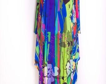 Sale - Maxi long sleeve dress loose  dress,colorfull,bright colors,multicolor dress,dress ,was 59 USD