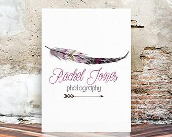 Photography Logo - Watercolor logo design - feather logo design - premade logo design