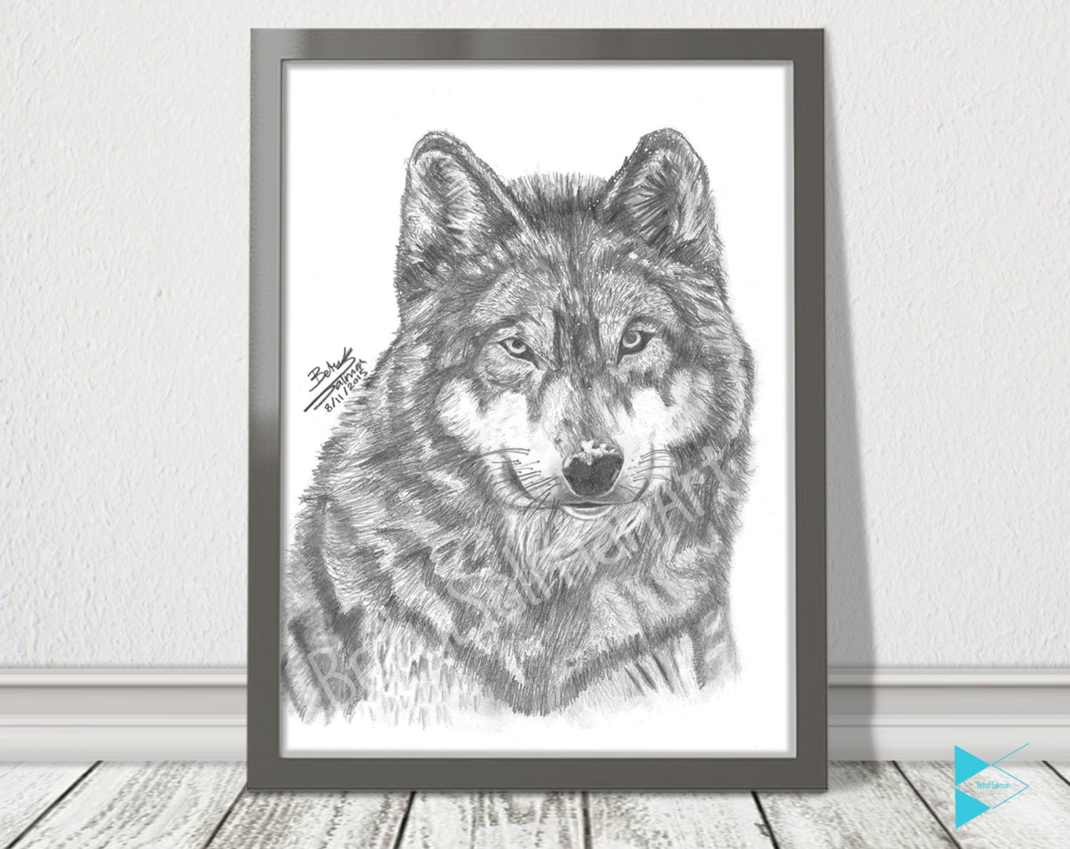 Wolf Pencil Drawing Winter Home Decor Pet By