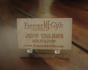 Wood Business Cards, 100 Unique Business Cards, By Forever Me Gifts, 100 Quantity of one sided engraving