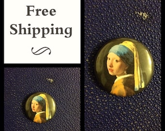 """Vermeer Girl with a Pearl Earring, 1"""" Button Pin Badge, FREE SHIPPING"""