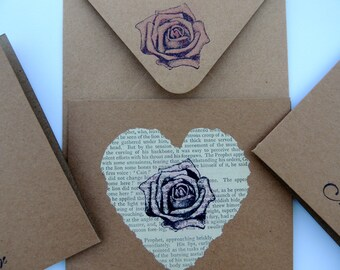 Love Heart Card, Vintage Heart Card, Wedding Card, Vintage Rose Card, Girlfriend Card, Birthday Card, Romantic Heart Card, Anniversary Card